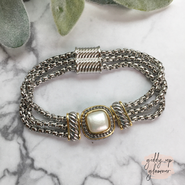 Two Toned Square Magnetic Bracelet in Pearl