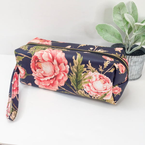 Floral Cosmetic Bag in Navy
