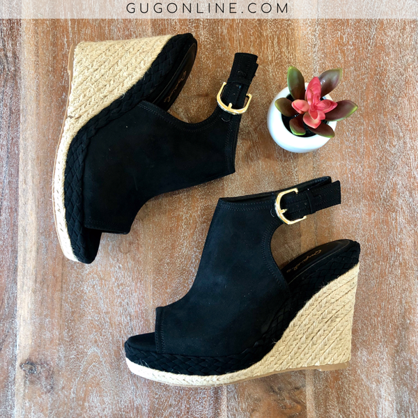 Black Suede Braided Wedges/Heels | Cute Trendy Espadrilles Wedges Sandals