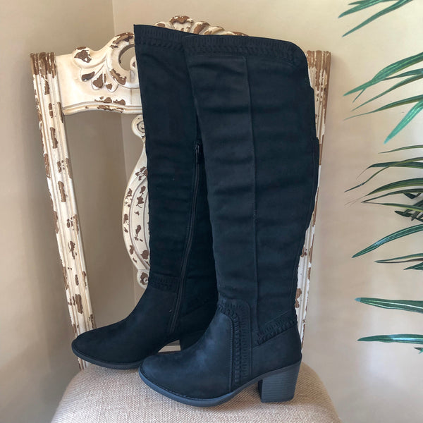 Corky's | Ladder Heeled Knee Boots in Black