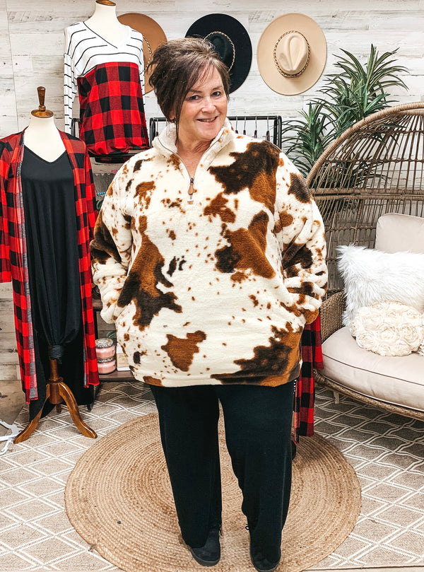 Online Exclusive | Just Warming Up Cow Print Fur Pullover 3/4 Zip Jacket with Lining