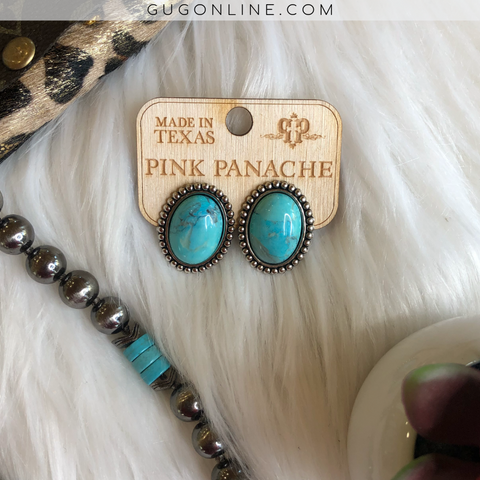 Pink Panache Mini Oval Turquoise Stone Stud Earrings
