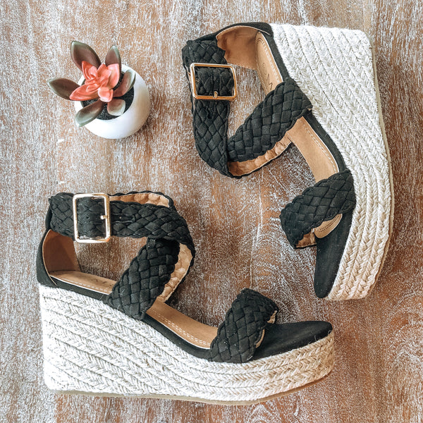 Casual Crush Braided Espadrille Wedges in Black