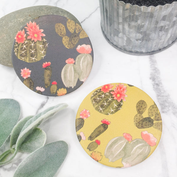 Set of Two | Pastel Cactus Bloom Car Coasters