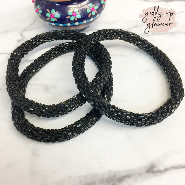 Set of Three | Beaded Bracelets in Black