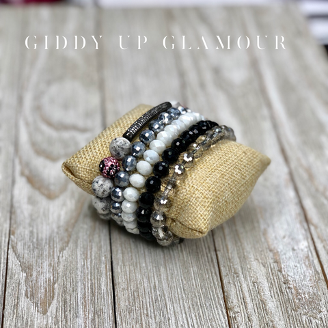 Black, Silver, Ivory and Marble 5pc Set