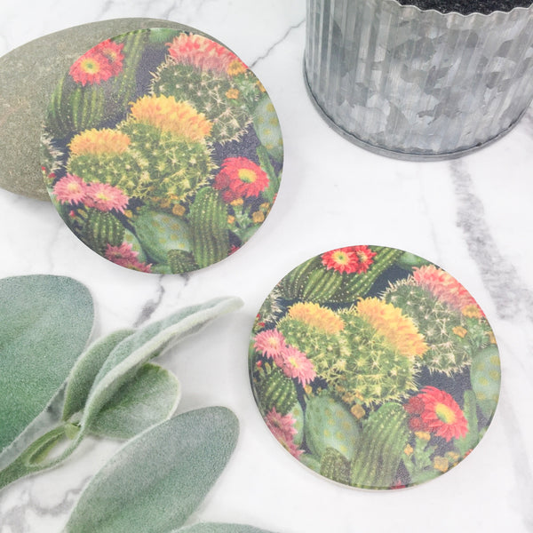 Set of Two | Colorful Cactus Car Coasters
