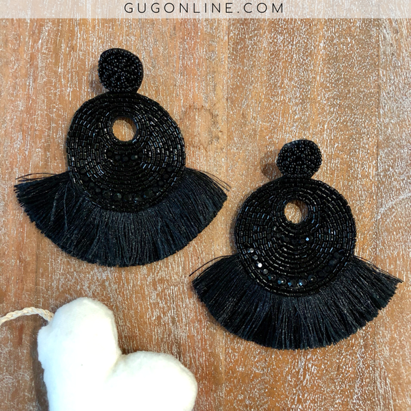 Beaded Statement Earrings with Fringe in Black