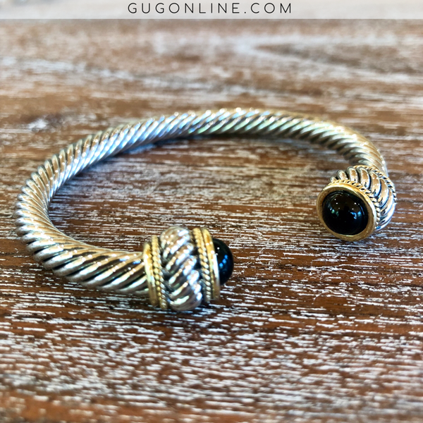 Large Silver Cable Bracelet with Black Cabochon Ends