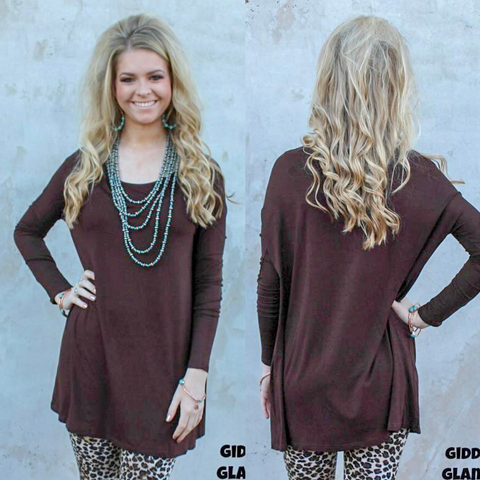 Keep It Simple Long Sleeve Piko Tunic in Chocolate Brown