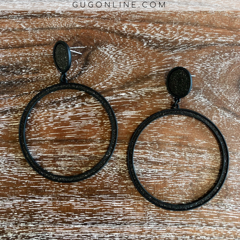 Circle Dangle Earrings with Black Glitter in Matte Black