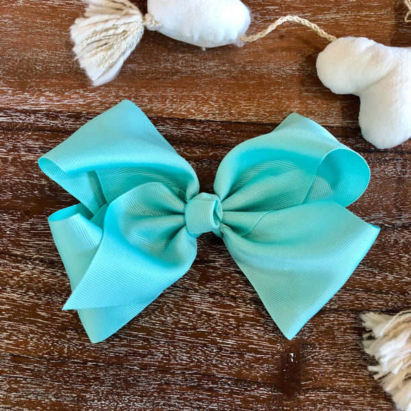 Solid Color Hair Bow in Aqua