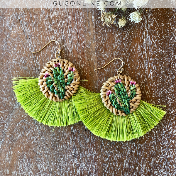 Woven Cactus Earrings with Lime Green Fringe Trim
