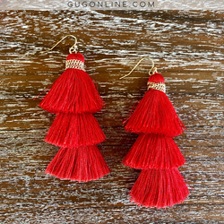 Three Tiered Tassel Earrings in Red