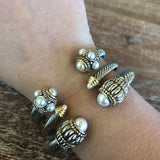 Silver Cable Cuff Bracelet with Pearl Accents and Pearl Cabochons
