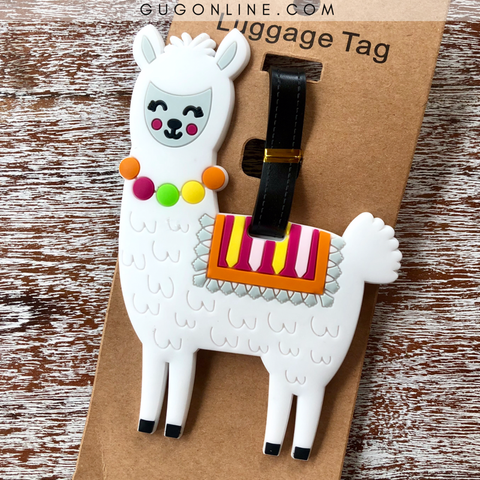 Blushing Llama Luggage Tag in White