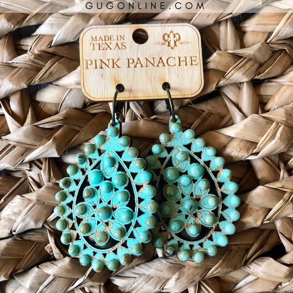 Pink Panache Santa Fe Crackle Teardrop Earrings in Turquoise