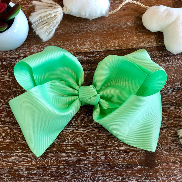 Solid Color Hair Bow in Mint Green