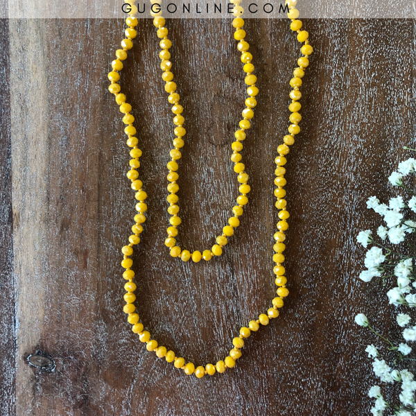 60 Inch Long Layering 6mm Crystal Strand Necklace in Banana Yellow
