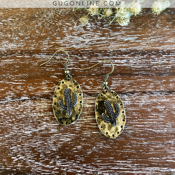 Small Oval Hammered Earrings with Cactus Embellishment in Gold