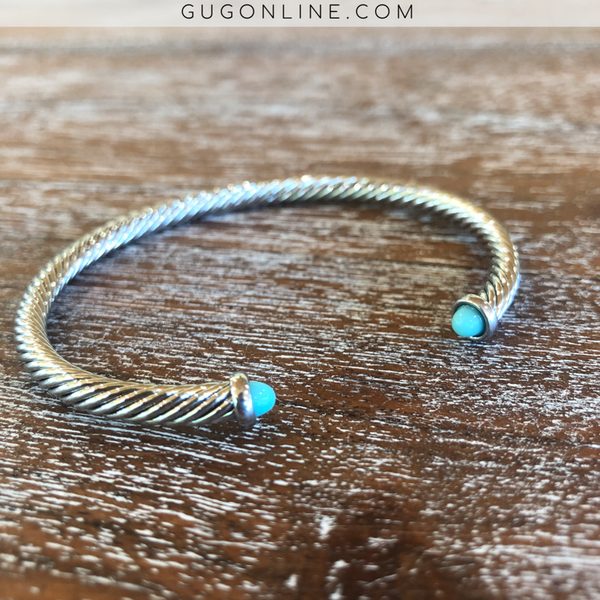 4mm Designer Inspired Silver Cable Bracelet with Turquoise Cabochon Ends