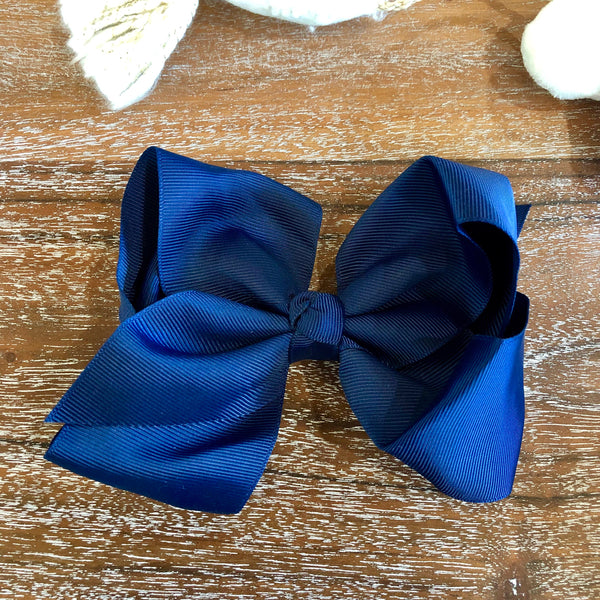 Solid Color Hair Bow in Navy Blue