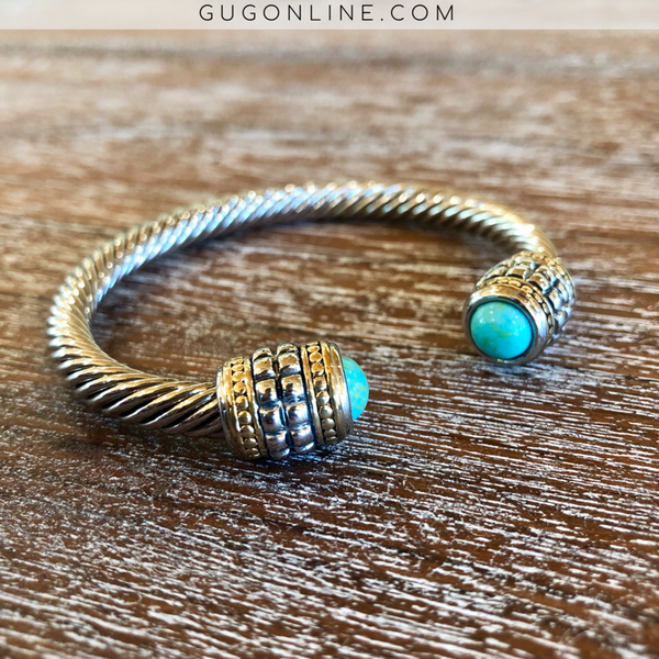 Silver Cable Cuff Bracelet with Studded Silver Accents and Turquoise Cabochon Caps