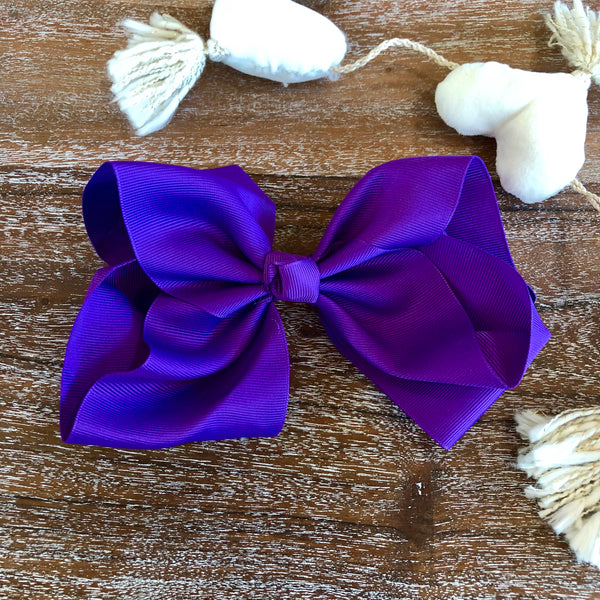 Solid Color Hair Bow in Purple