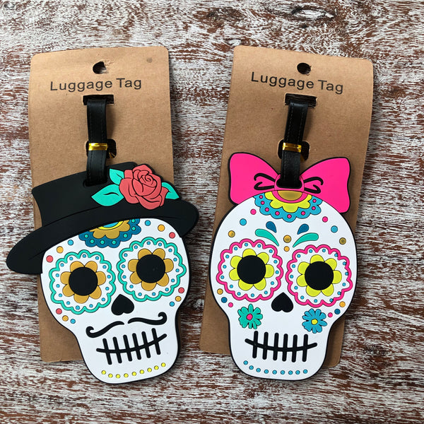Sugar Skull with Hat Luggage Tag