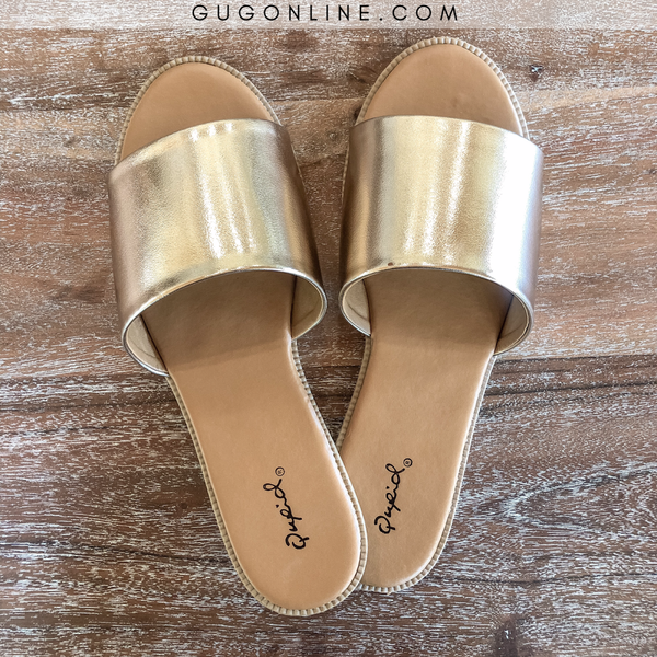 Beach Babe Slide On Sandals in Rose Gold