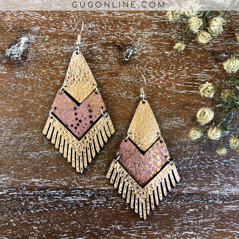 Tiered Leather Earrings in Metallic Pink