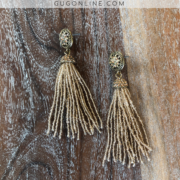 Beaded Tassel Earrings with Crystals in Champagne
