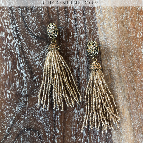 Beaded Tassel Earrings with Crystals in Peach