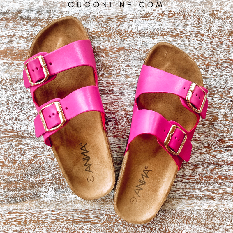 Summer Perfection Slide In Sandal in Hot Pink - sizes 6, 6.5, 7, 7.5 left