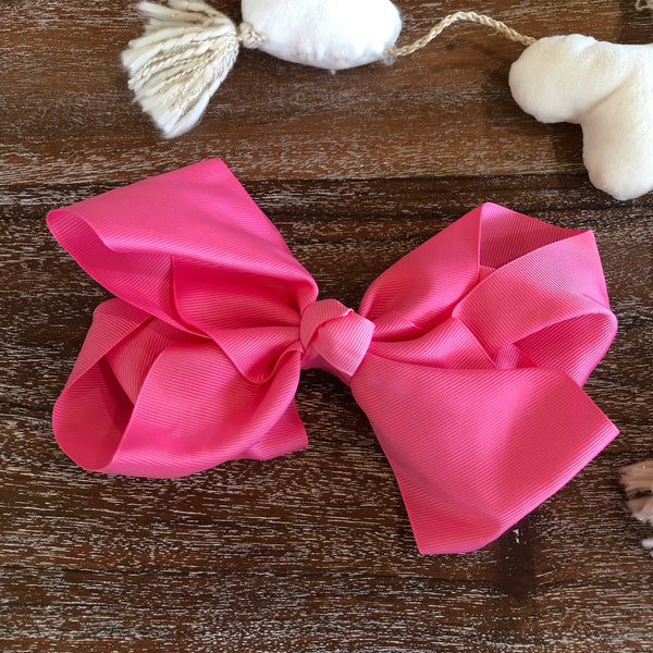 Solid Color Hair Bow in Neon Pink