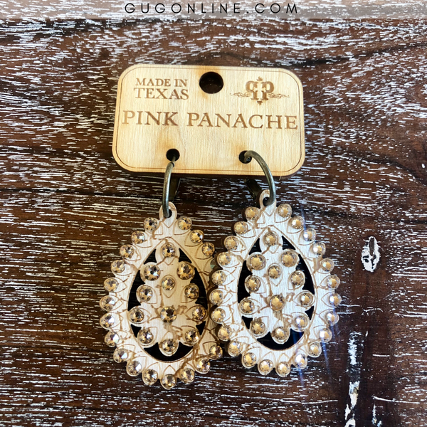 Pink Panache Small Santa Fe Crackle Teardrop Earrings in Pearl White