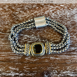 Designer Inspired Magnetic Bracelet with Black Square Crystal and Twisted Silver Accents