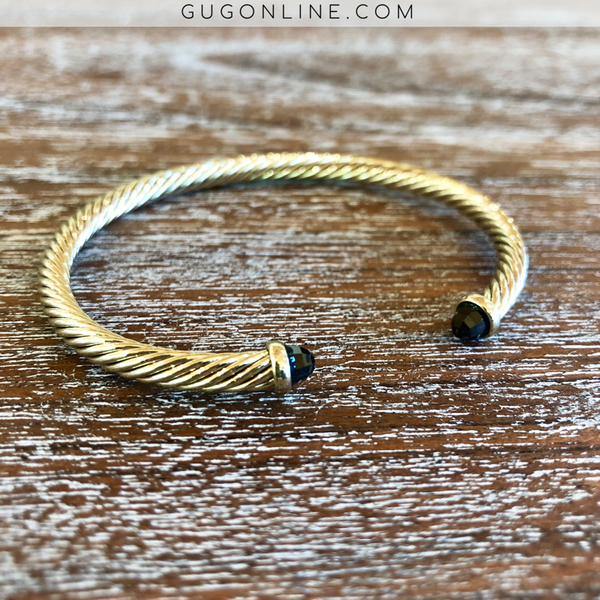 4mm Gold Cable Bracelet with Black Crystal Cabochon Ends