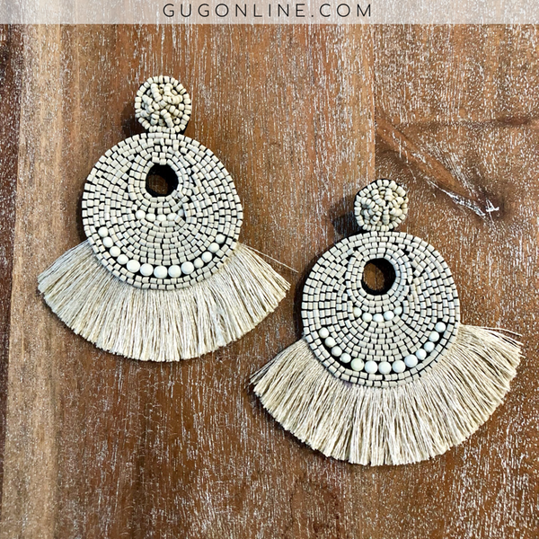 Beaded Statement Earrings with Fringe in Bone White