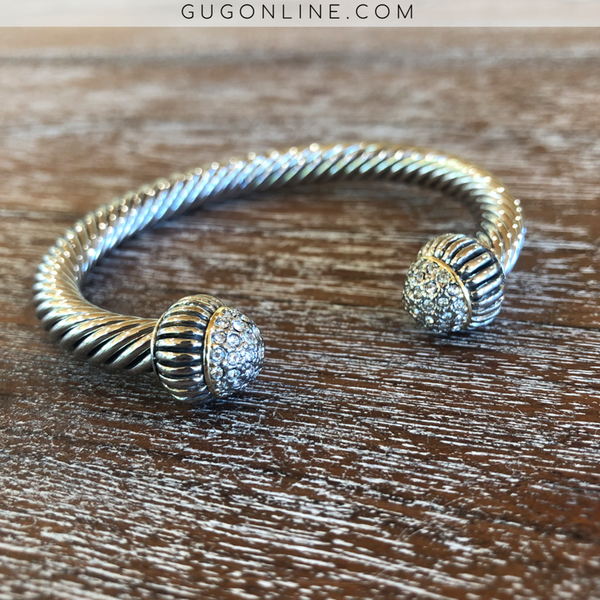 Large Silver Cable Cuff Bracelet with Clear Crystal Caps