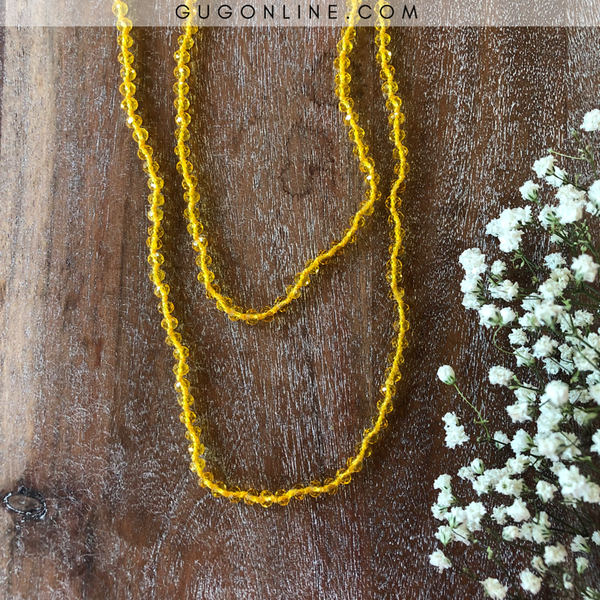 60 Inch Long Layering 6mm Crystal Strand Necklace in Clear Banana Yellow
