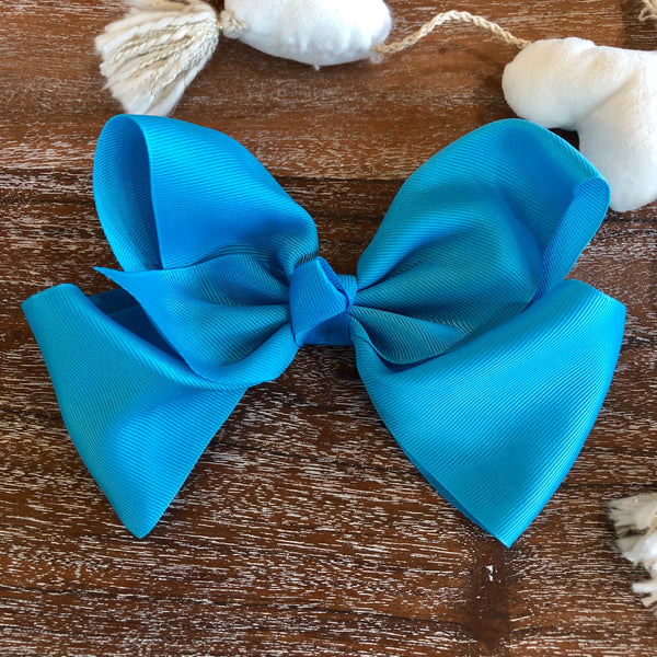 Solid Color Hair Bow in Turquoise