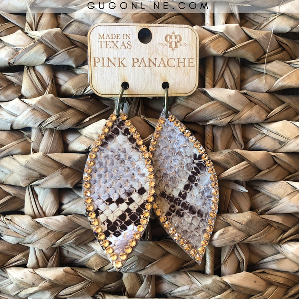Pink Panache Snakeskin Navette Earrings with Light Topaz Crystals