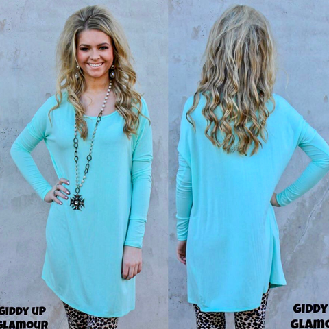 Keep It Simple Long Sleeve Piko Tunic in Mint