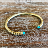 4mm Designer Inspired Gold Cable Bracelet with Turquoise Cabochon Ends