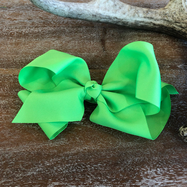 Solid Color Hair Bow in Neon Green