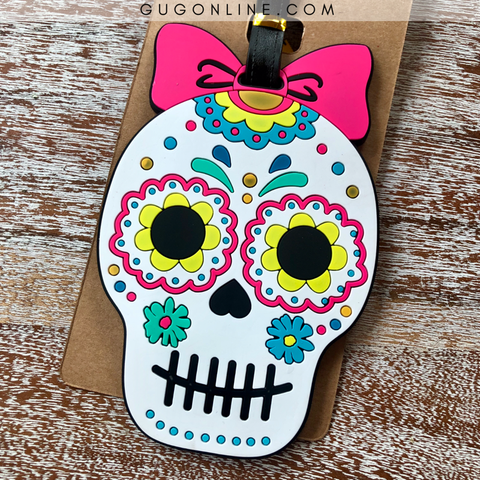 Sugar Skull with Bow Luggage Tag