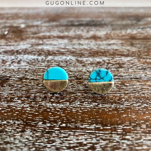Circle Turquoise and Gold Stud Earrings
