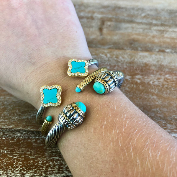 Designer Inspired Quatrefoil Silver Cable Cuff Bracelet in Turquoise