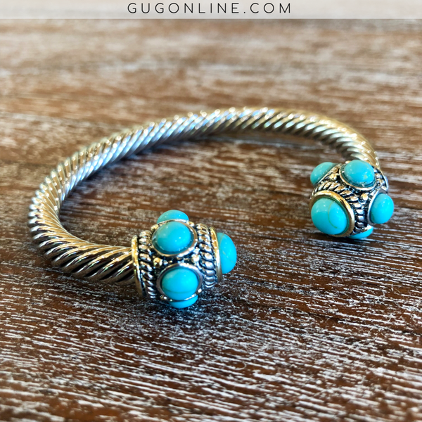Silver Cable Cuff Bracelet with Turquoise Stone Accents and Turquoise Stone Cabochons
